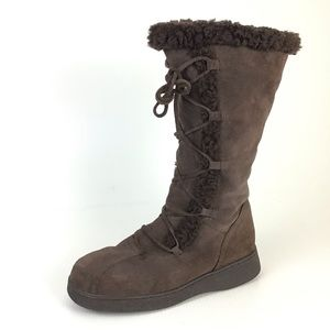 NINE WEST Leather Brown Moccasin Style Boots
